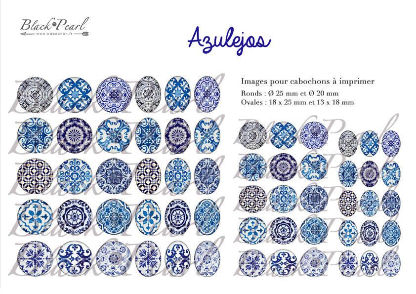 ° Azulejos ° - Page digitale pour cabochons - 60 images numériques à imprimer