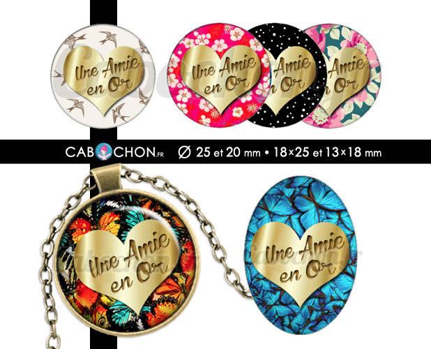 Une Amie en Or ☆ 60 Images Digitales RONDES 25 et 20 mm OVALES 18x25 et 13x18 mm copine ami or doré coeur cabochon badge bijoux