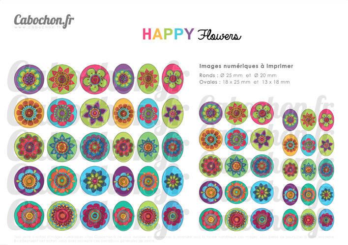 HAPPY Flowers ☆ 60 Images Digitales RONDES 25 et 20 mm OVALES 18x25 et 13x18 mm fleur couleur color page cabochon bijoux badge