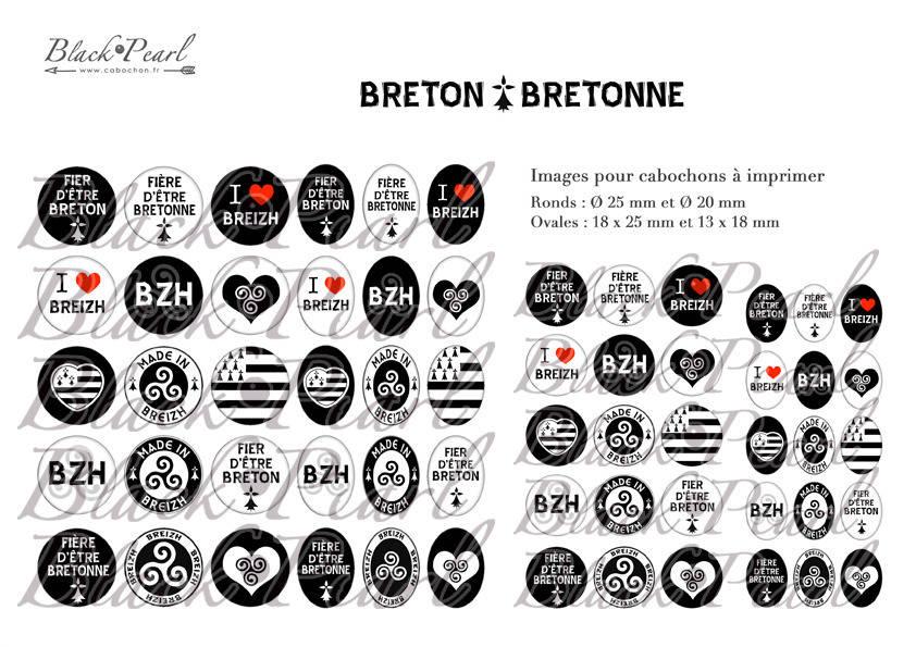 ° Breton • Bretonne ° - Page digitale pour cabochons - 60 images numériques à imprimer