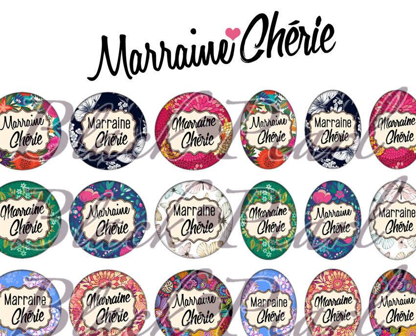 ° Marraine Chérie ll ° - Page de collage digital cabochons - 60 images à imprimer