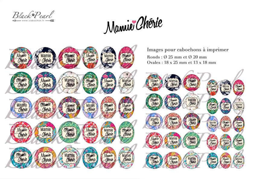 ° Mamie Chérie ll ° - Page digitale pour cabochons - 60 images à imprimer