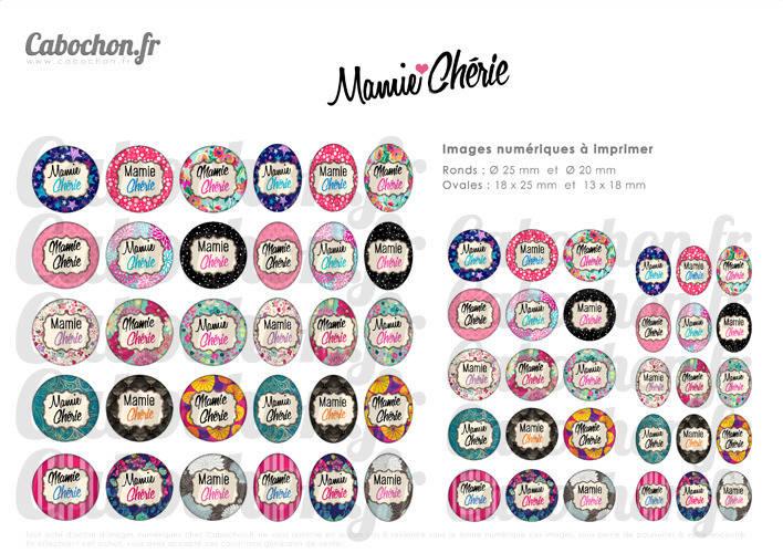 Mamie Chérie ☆ 60 Images Digitales RONDES 25 et 20 mm et OVALES 18x25 et 13x18 mm dechire super aime mamy Page cabochon bijoux