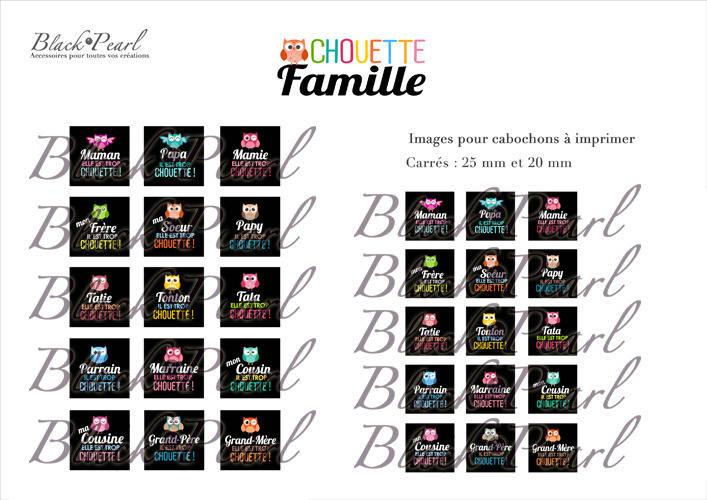 ° Chouette Famille ° - Page de collage cabochons - 30 images à imprimer