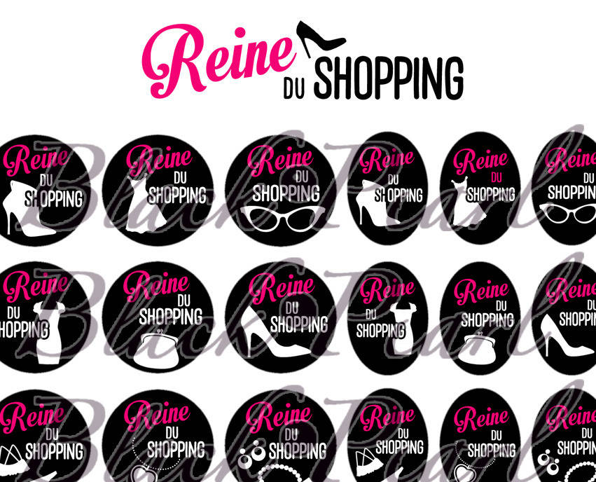 ° Reine du Shopping lll ° - Page de collage digital cabochons - 60 images à imprimer