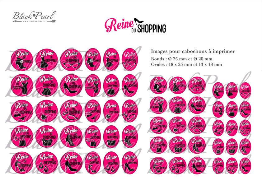 ° Reine du Shopping ll ° - Page de collage digital cabochons - 60 images à imprimer