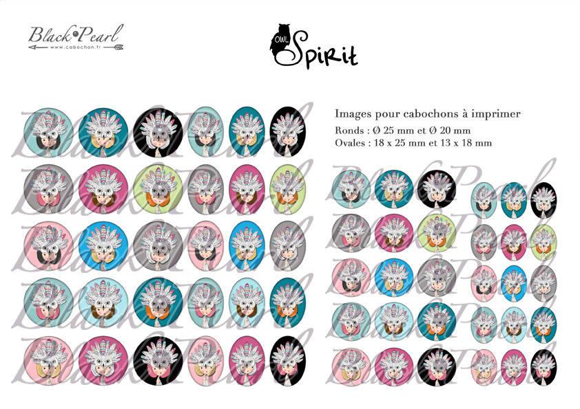 ° Owl Spirit ° - Page digitale pour cabochons - 60 images numériques à imprimer