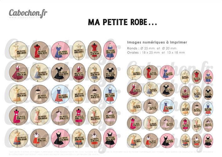 Ma Petite Robe ... ☆ 60 Images Digitales RONDES 25 et 20 mm et OVALES 18x25 et 13x18 mm parfum noire vintage liberty chic pois