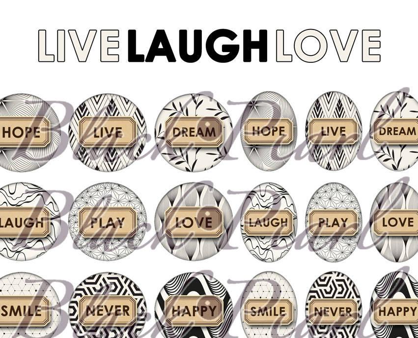 ° Live Laugh Love ° - Page de collage digital cabochons - 60 images à imprimer