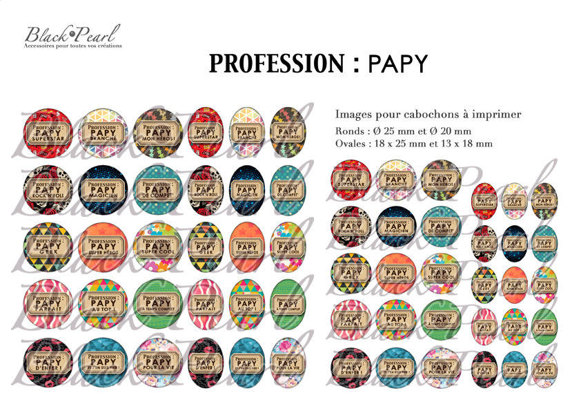 ° Profession : Papy ° - Page de collage digital cabochons - 60 images à imprimer