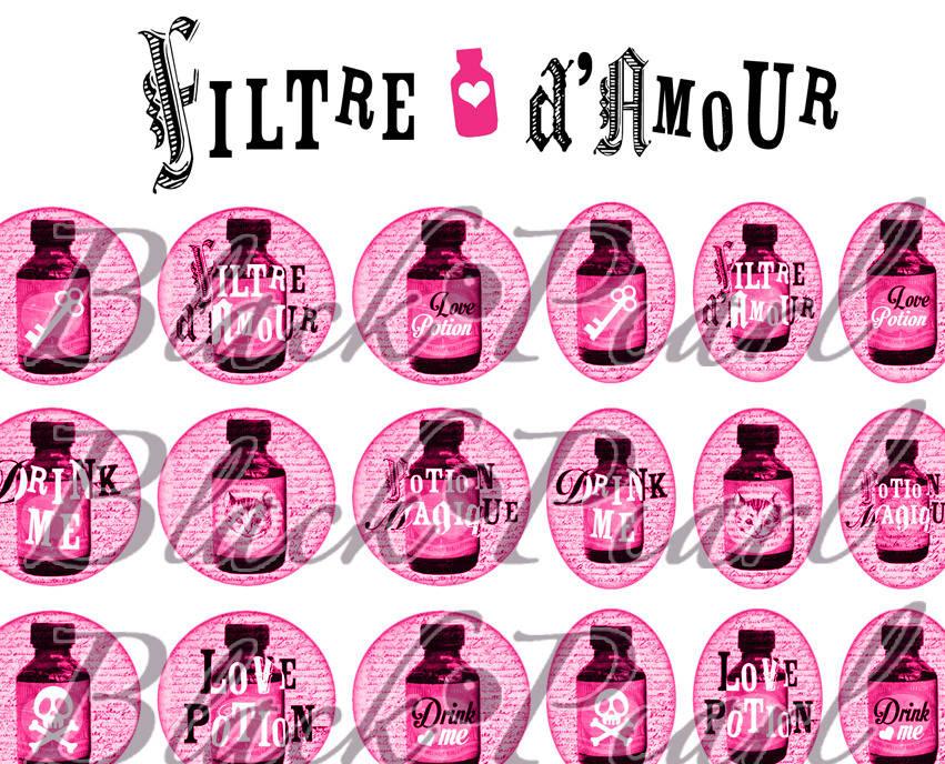 ° Filtre d'Amour - Drink Me - PINK ° - Planche numérique digitale à imprimer - 60 images