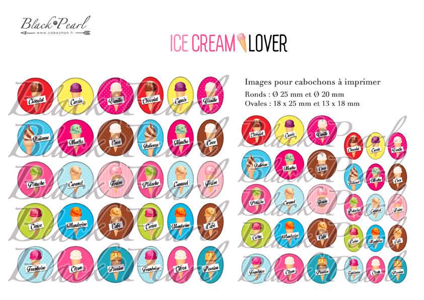 ° Ice Cream Lover ° - Page de collage digital cabochons - 60 images à imprimer