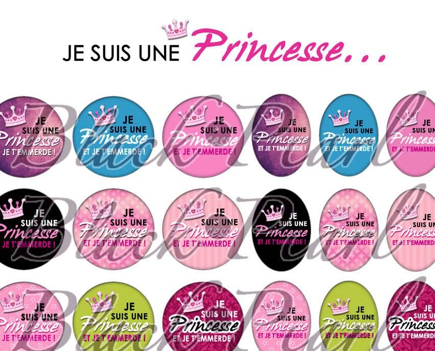 ° Je suis une Princesse ... ll - Version non censurée ° - Page de collage digital cabochons - 60 images à imprimer
