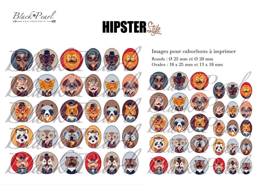° Hipster Style ° - Page de collage digital cabochons - 60 images à imprimer
