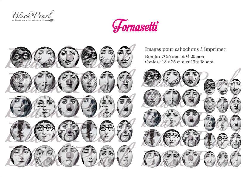 ° Fornasetti ° - Page de collage digital cabochons - 60 images à imprimer