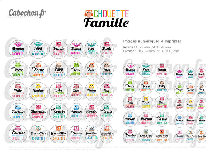 Chouette Famille ll ☆ 60 Images Digitales RONDES 25 et 20 mm OVALES 18x25 et 13x18 mm hibou maman papa mamie tata cabochons badges
