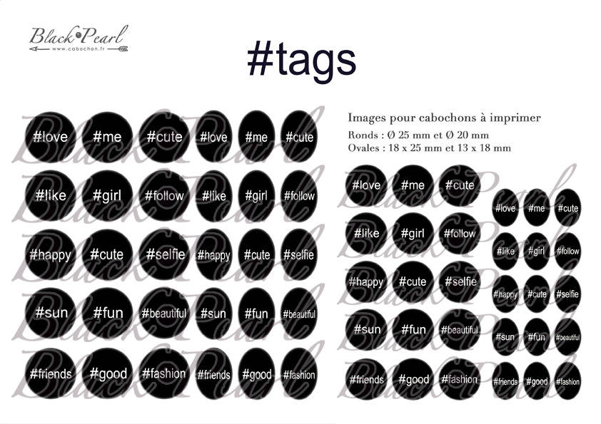 ° Hashtags ll ° - Page de collage digital cabochons - 60 images