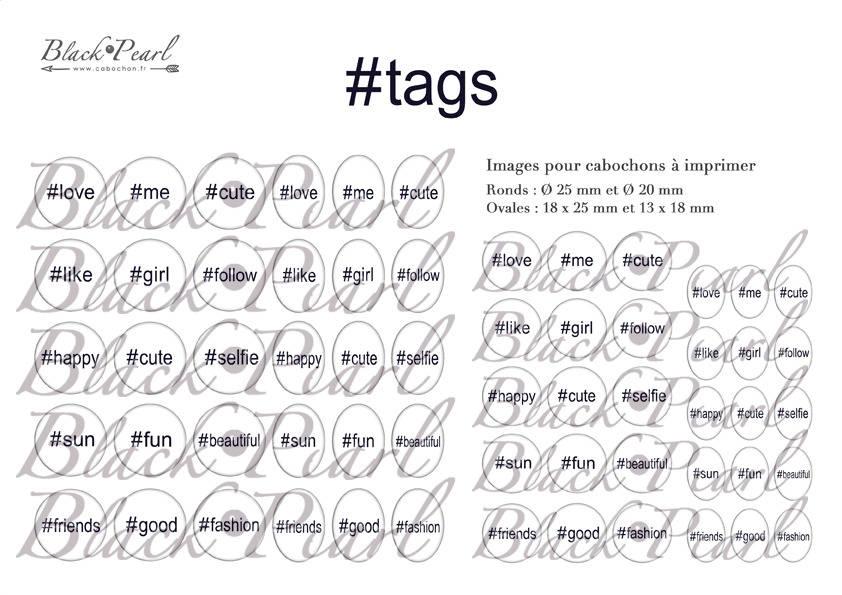° Hashtags ° - Page de collage digital cabochons - 60 images