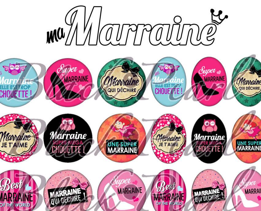 ° Ma Marraine ° - Page de collage digital cabochons - 60 images à imprimer