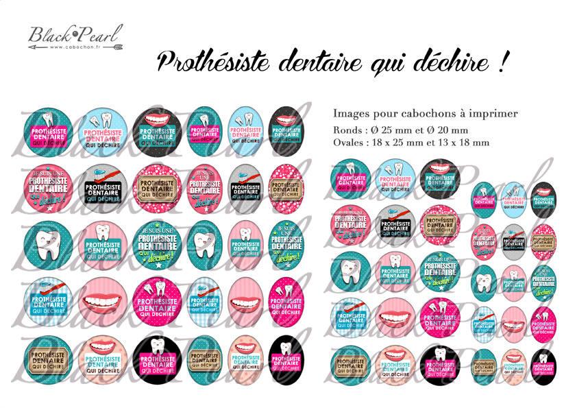 ° Prothésiste dentaire qui déchire ! °  - Page digitale pour cabochons - 60 images à imprimer