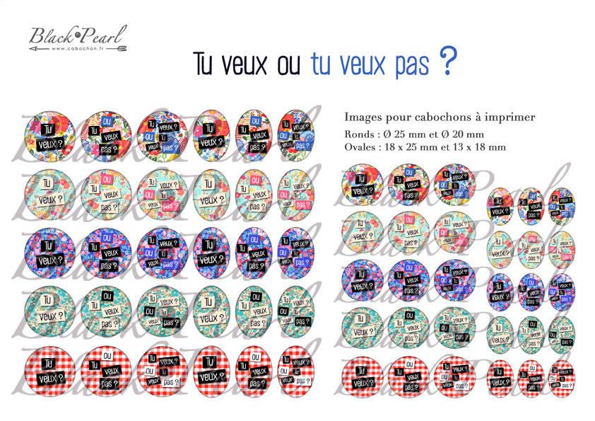 ° Tu veux ou tu veux pas ?  ° - Page de collage digital cabochons - 60 images à imprimer
