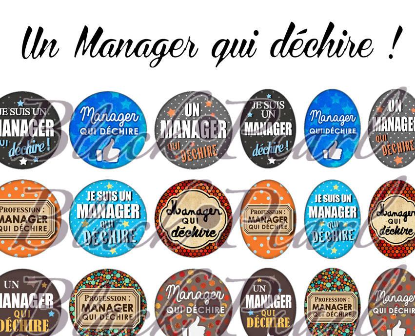 ° Un Manager qui déchire ! °  - Page digitale pour cabochons - 60 images à imprimer