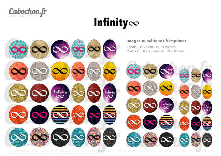 Infinity ☆ 60 Images Digitales RONDES 25 et 20 mm OVALES 18x25 et 13x18 mm infini 8 signe cosmos swag Page cabochons