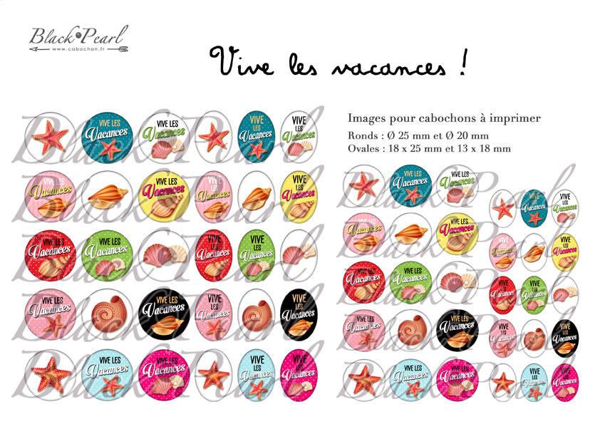 ° Vive les Vacances ! ll ° - Page de collage digital cabochons - 60 images à imprimer