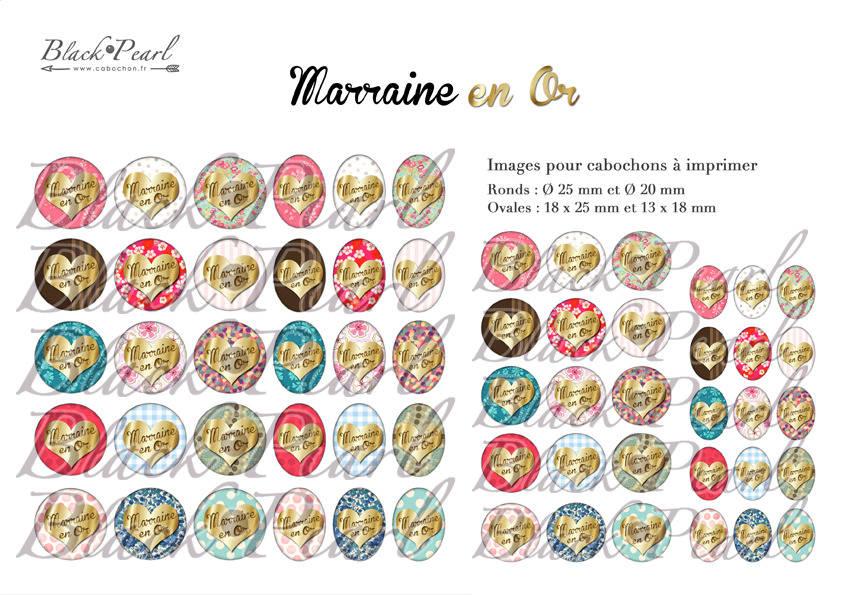 ° Marraine en Or ° - Page de collage digital cabochons - 60 images à imprimer
