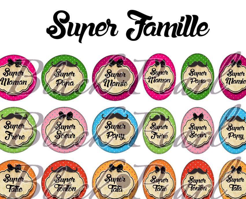 ° Super Famille ll ° - Page digitale pour cabochons - 60 images à imprimer