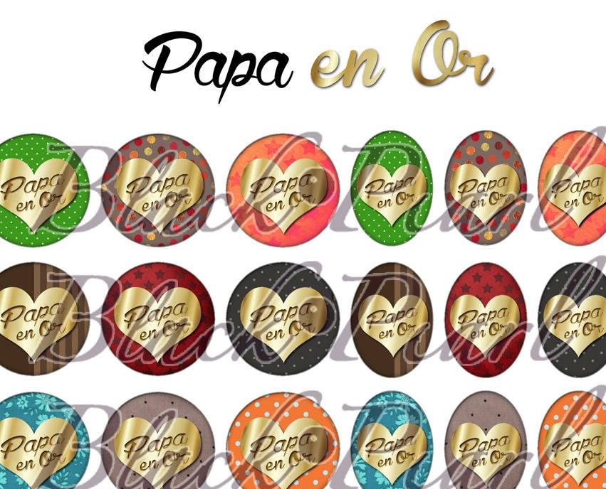 ° Papa en Or ° - Page de collage digital cabochons - 60 images à imprimer