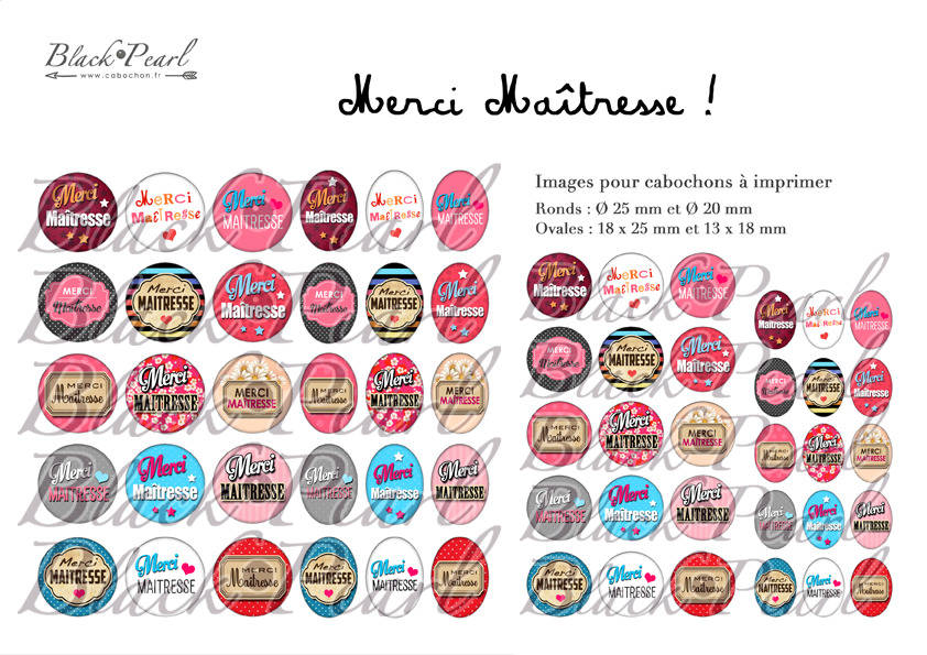 ° MERCI Maîtresse ! lll ° - Page de collage digital cabochons - 60 images à imprimer