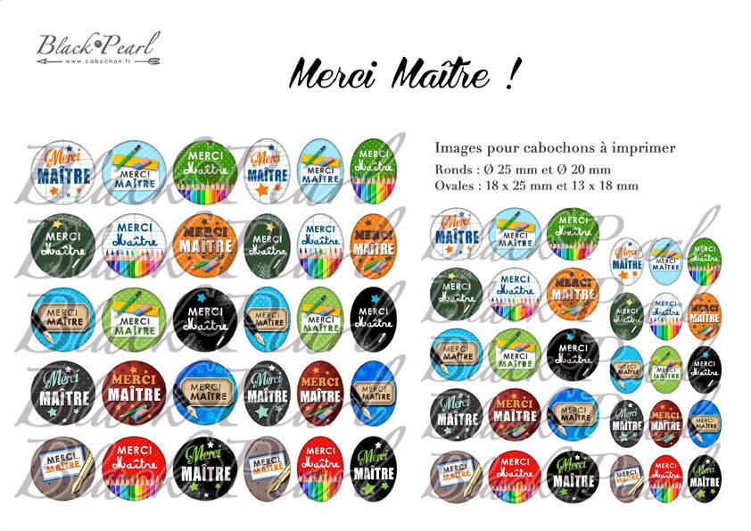° MERCI Maître ! ll ° - Page de collage digital cabochons - 60 images à imprimer