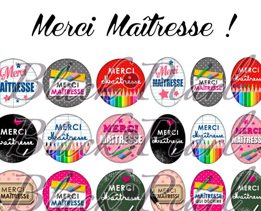 ° MERCI Maîtresse ! ll ° - Page de collage digital cabochons - 60 images à imprimer