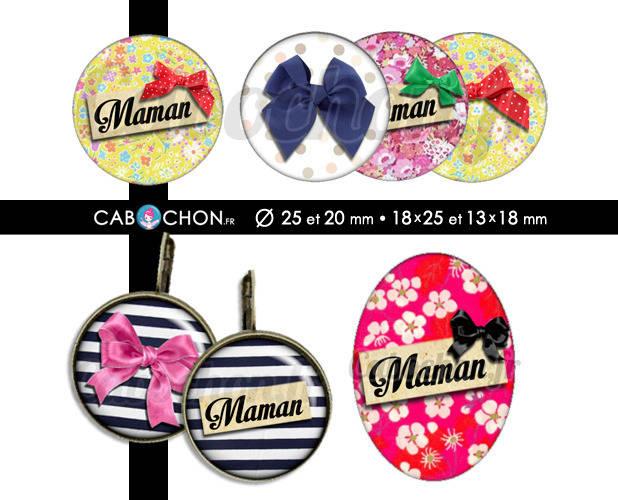 Maman ll ☆ 60 Images Digitales RONDES 25 et 20 mm OVALES 18x25 et 13x18 mm mere fleur fête bonne noeud liberty cabochon page