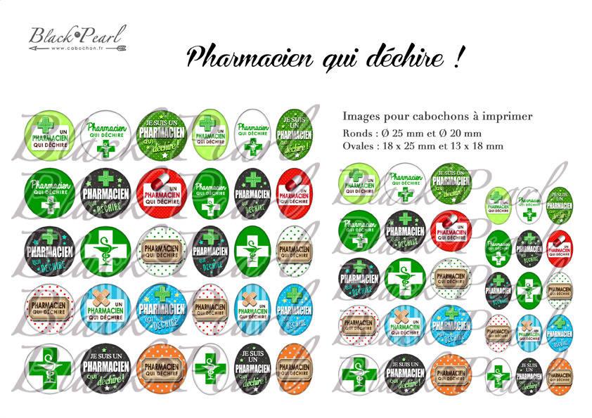 ° Pharmacien qui déchire ! °  - Page digitale pour cabochons - 60 images à imprimer