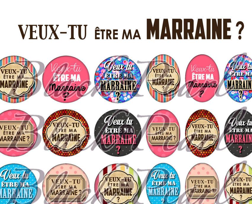 ° Veux-tu être ma Marraine ? ° - Page de collage digital cabochons - 60 images à imprimer