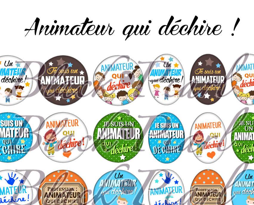 ° Animateur qui déchire ! ° - Page de collage digital cabochons - 60 images à imprimer