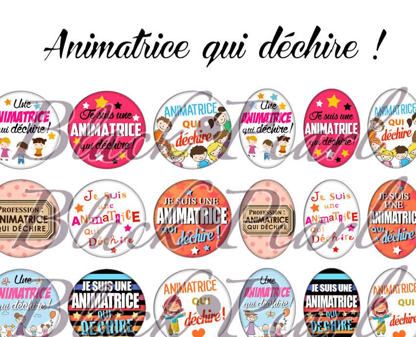 ° Animatrice qui déchire ! ° - Page de collage digital cabochons - 60 images à imprimer
