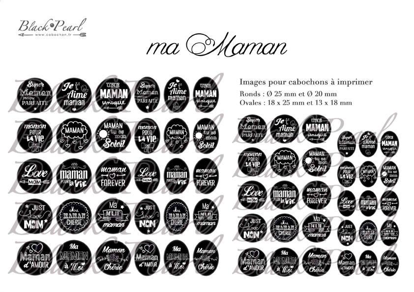 ° Ma Maman • BLACK ° - Page digitale pour cabochons - 60 images à imprimer