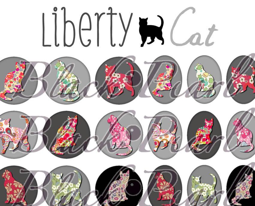 ° Liberty Cat ll ° - Page digitale pour cabochons - 60 images à imprimer