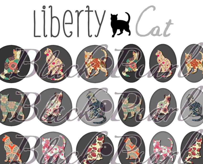 ° Liberty Cat ° - Page digitale pour cabochons - 60 images à imprimer