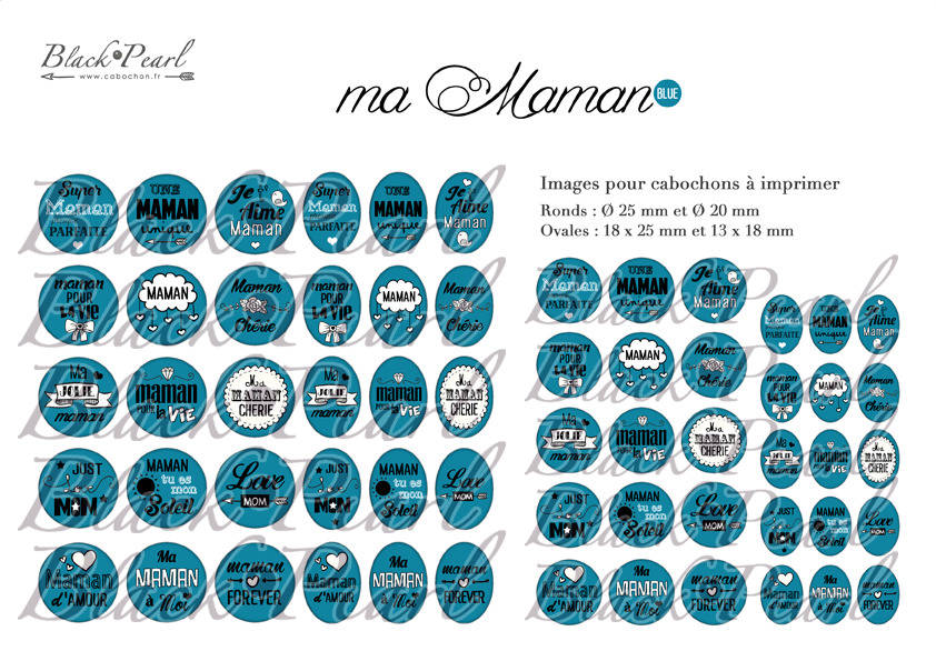° Ma Maman • BLUE ° - Page digitale pour cabochons - 60 images à imprimer