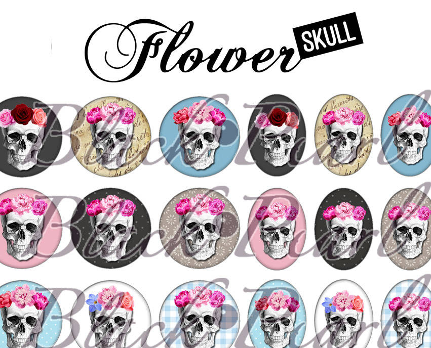 ° Flower Skull ° - Page digitale pour cabochons - 60 images à imprimer