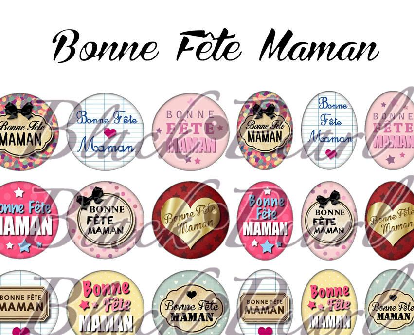 ° Bonne Fête Maman V ° - Planche numérique pour cabochons - 60 images° à imprimer