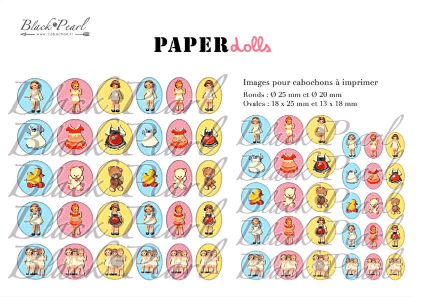 ° Paper Dolls ° - Page de collage digital pour cabochons - 60 images à imprimer