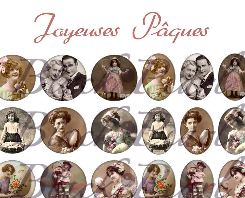 ° Joyeuses Pâques ° - Page de collage digital cabochons - 60 images à imprimer