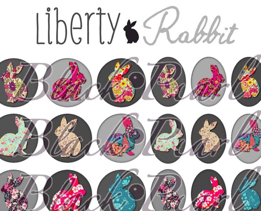 ° Liberty Rabbit lll ° - Page digitale pour cabochons - 60 images à imprimer