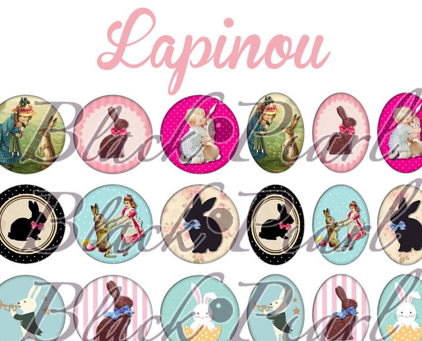 ° Lapinou ° - Page digitale pour cabochons à imprimer - 60 images à imprimer
