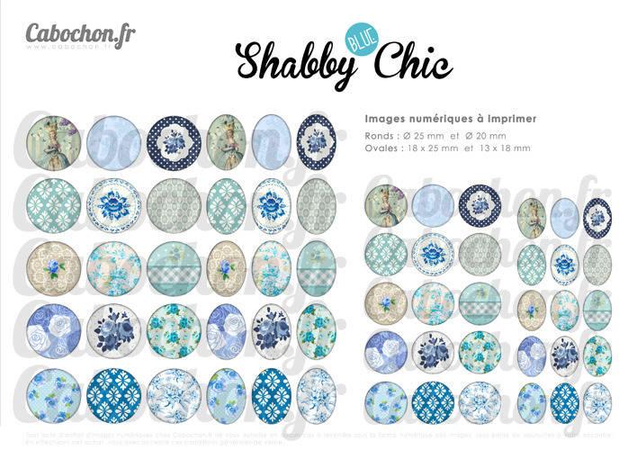 Shabby BLUE Chic ☆ 60 Images Digitales RONDES 25 et 20 mm et OVALES 18x25 et 13x18 mm vintage retro bleu liberty paillettes Page